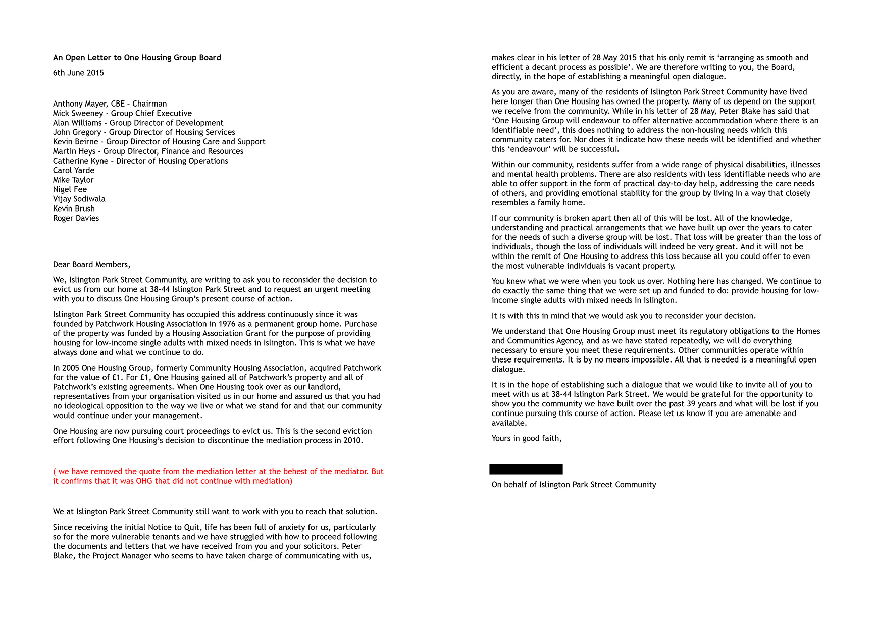 Open Letter To One Housing Group Board 1 Islington Park Street